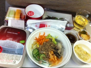 "Plane food:""Would you like beef steak  or Bibimbap?"" ""Bibimbap, please."""